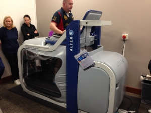 A patient using the AlterG at our demonstration evening.
